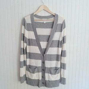 LOFT Gray and White Striped Cardigan